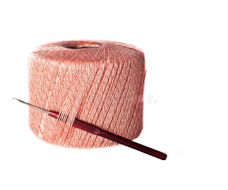 Ball of pink wool stock photos