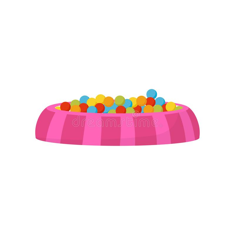 Ball pit, pool with colorful balls, kids playground element vector Illustration on a white background. Ball pit, pool with colorful balls, kids playground stock illustration