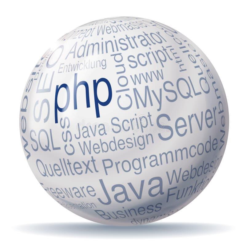 Ball and programming. Ball php and programming stock illustration