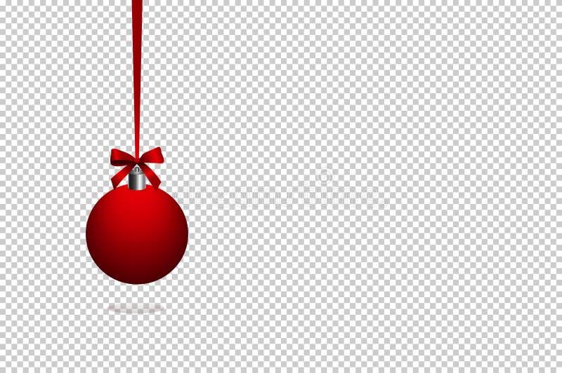 Ball-1Red Bożenarodzeniowa piłka, faborek, odizolowywający na przejrzystym tle royalty ilustracja