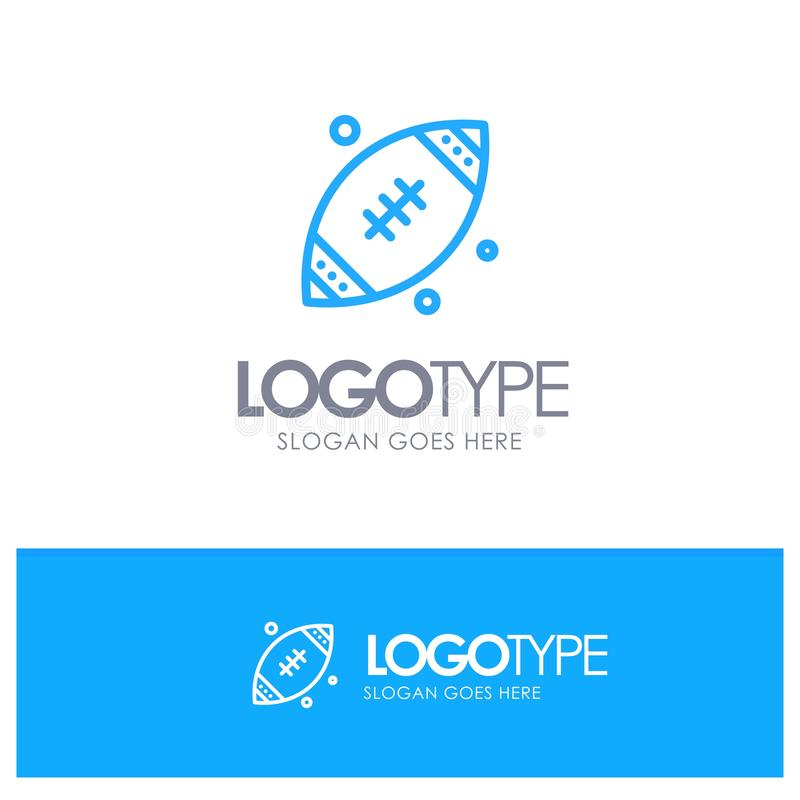 Ball, Rugby, Sports, Ireland Blue Outline Logo Place for Tagline stock illustration