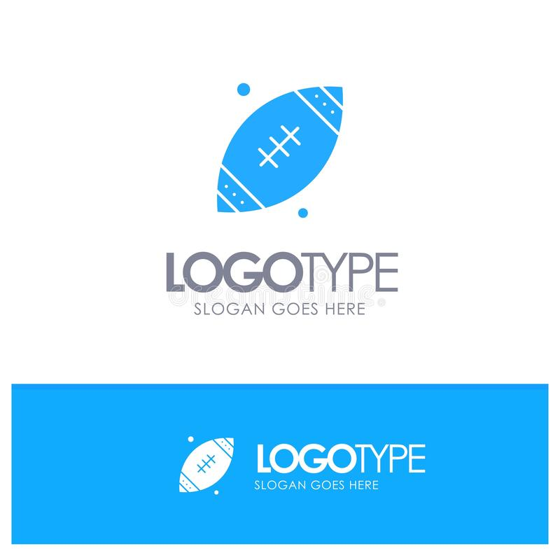Ball, Rugby, Sports, Ireland Blue Solid Logo with place for tagline stock illustration