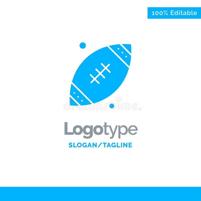 Ball, Rugby, Sports, Ireland Blue Solid Logo Template. Place for Tagline vector illustration