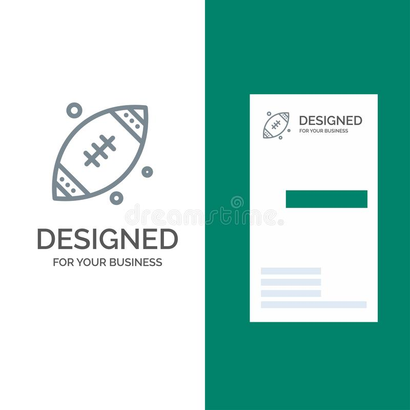Ball, Rugby, Sports, Ireland Grey Logo Design and Business Card Template stock illustration