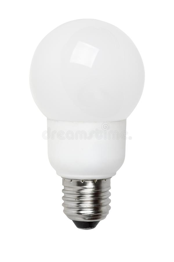 Ball-shaped fluorescent lamp. Isolated on the white background stock photography