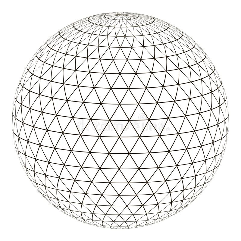 Ball sphere grid triangle on surface, vector layout globe planet earth with a grid, the concept of the virtual world stock illustration