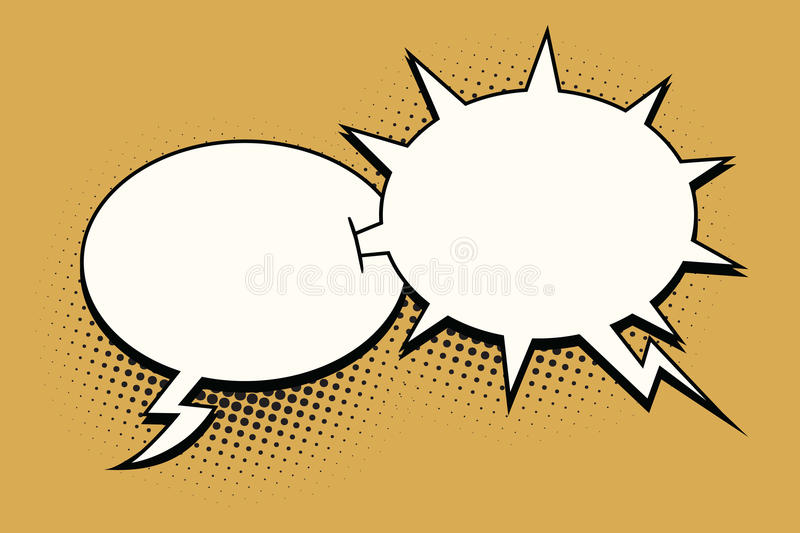 The ball and spikes comic bubble. Sharp dialogue. Comic cartoon style pop art retro color vector illustration royalty free illustration