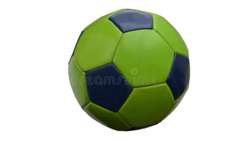 Ball sports bright green with black. The ball sports a bright green with black on a white background stock photos
