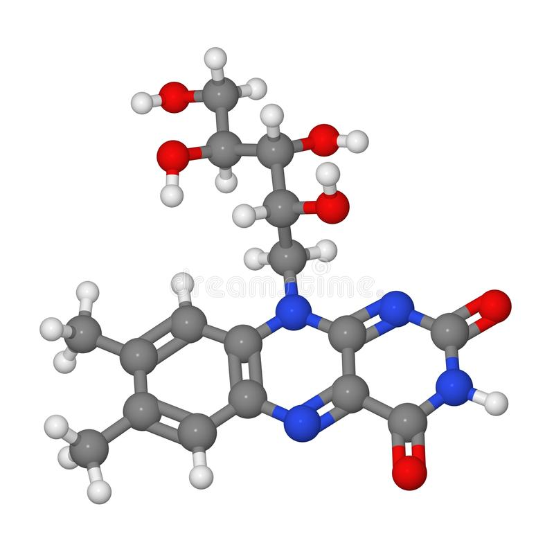 Ball and stick model of riboflavin molecule stock images