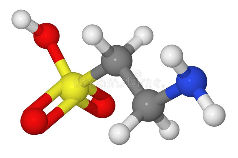 Ball and stick model of taurine molecule royalty free stock photos