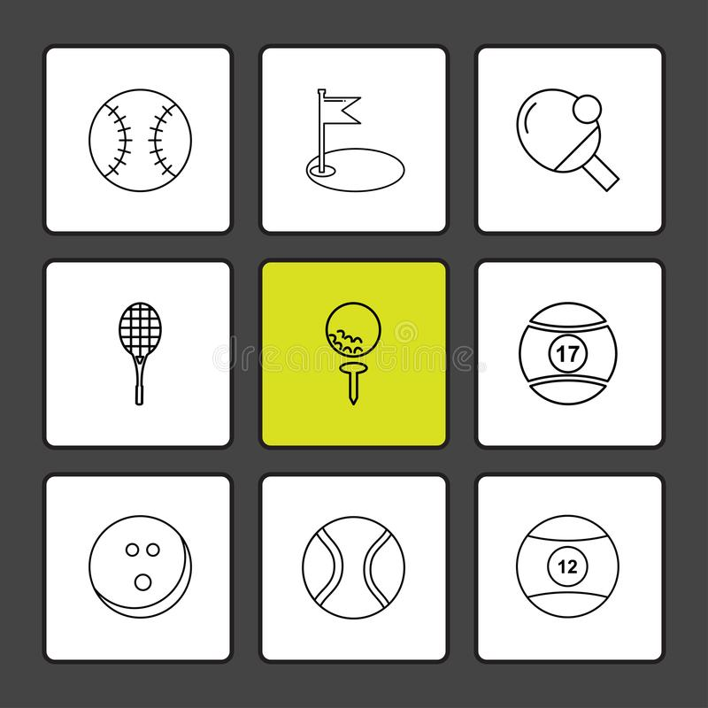 Ball , table teniss , racket , snoooker ,sports , games , fitness , athletics , eps icons set vector. Ball , table teniss , racket , snoooker ,sports , games vector illustration