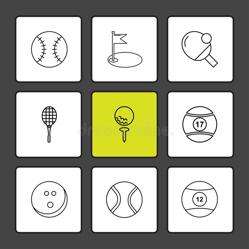 Ball , table teniss , racket , snoooker ,sports , games , fitness , athletics , eps icons set vector. Ball , table teniss , racket , snoooker ,sports , games stock illustration
