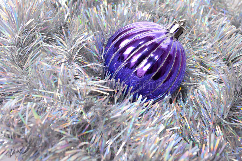 Ball and tinsel background royalty free stock photos
