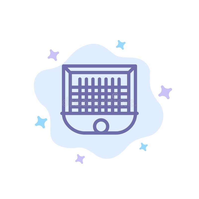 Ball, Tor, Torpfosten, Netz, Fußball-blaue Ikone auf abstraktem Wolken-Hintergrund lizenzfreie abbildung