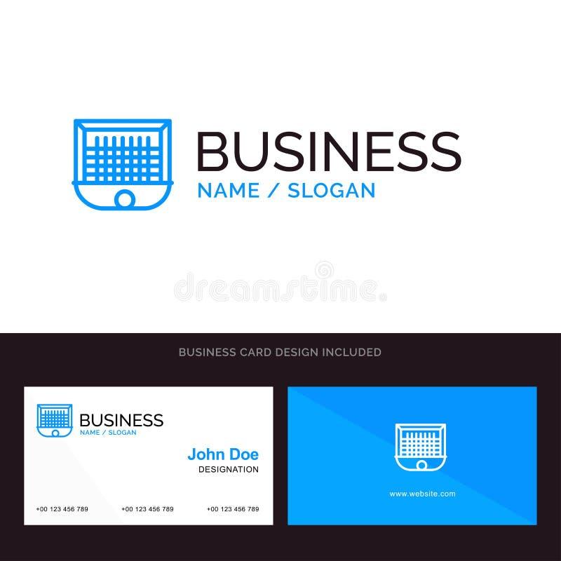 Ball, Tor, Torpfosten, Netz, Fußball-blaues Geschäftslogo und Visitenkarte-Schablone Front- und R?ckseitendesign stock abbildung
