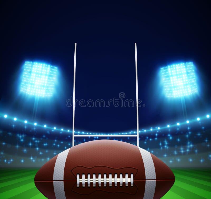 Ball und amerikanischer Fußballplatz ENV 10 stock abbildung