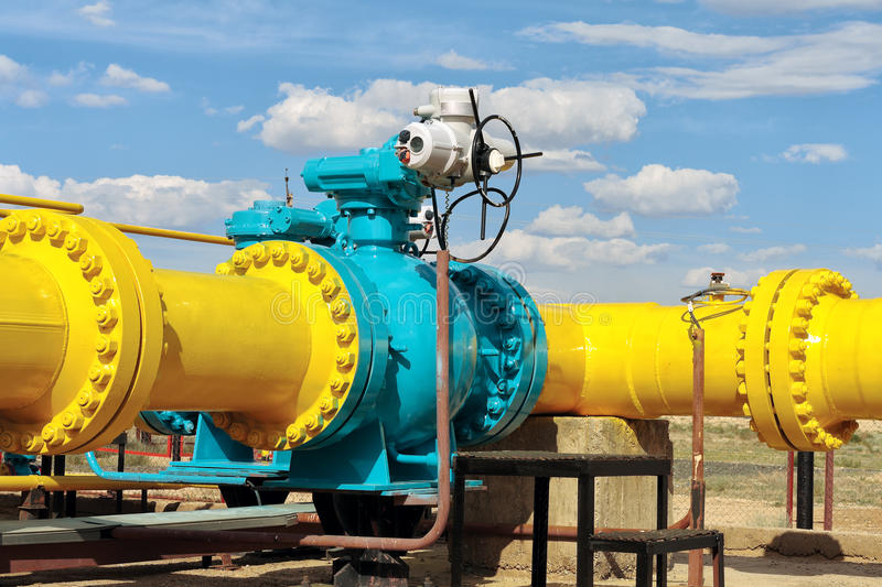 Ball valve on a gas pipeline. royalty free stock image