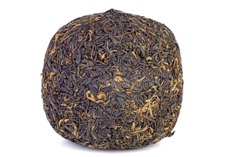 Ball van geperste zwarte chinese thee royalty-vrije stock afbeeldingen