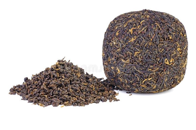 Ball van geperste zwarte chinese thee stock foto
