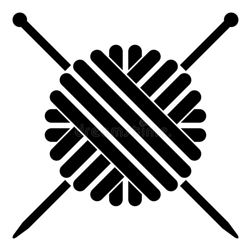 Ball of wool yarn and knitting needles icon black color illustration flat style simple image. Ball of wool yarn and knitting needles icon black color vector vector illustration