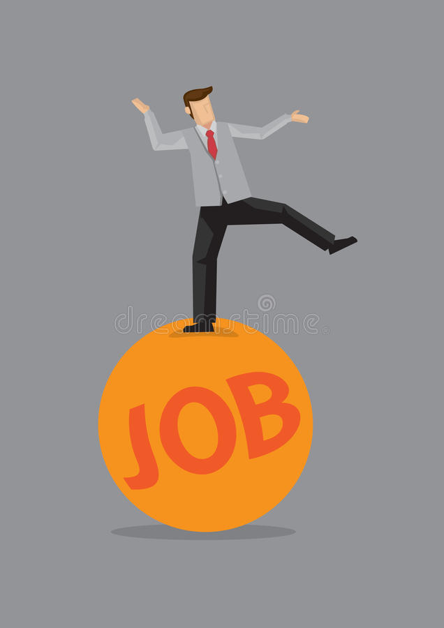 On the Ball at Work Vector Illustration. Happy worker balancing on one leg on a big orange, exercise ball with text JOB on it. Creative vector illustration for stock illustration