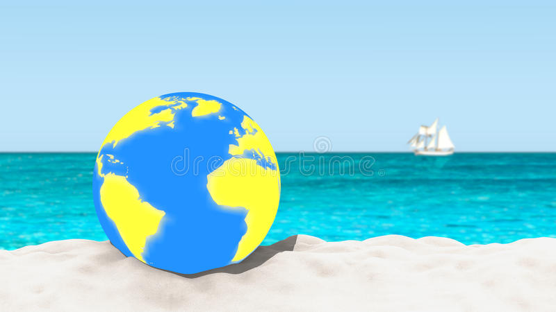 Ball with a world map pattern on a sandy beach with a blurred download ball with a world map pattern on a sandy beach with a blurred background gumiabroncs Images