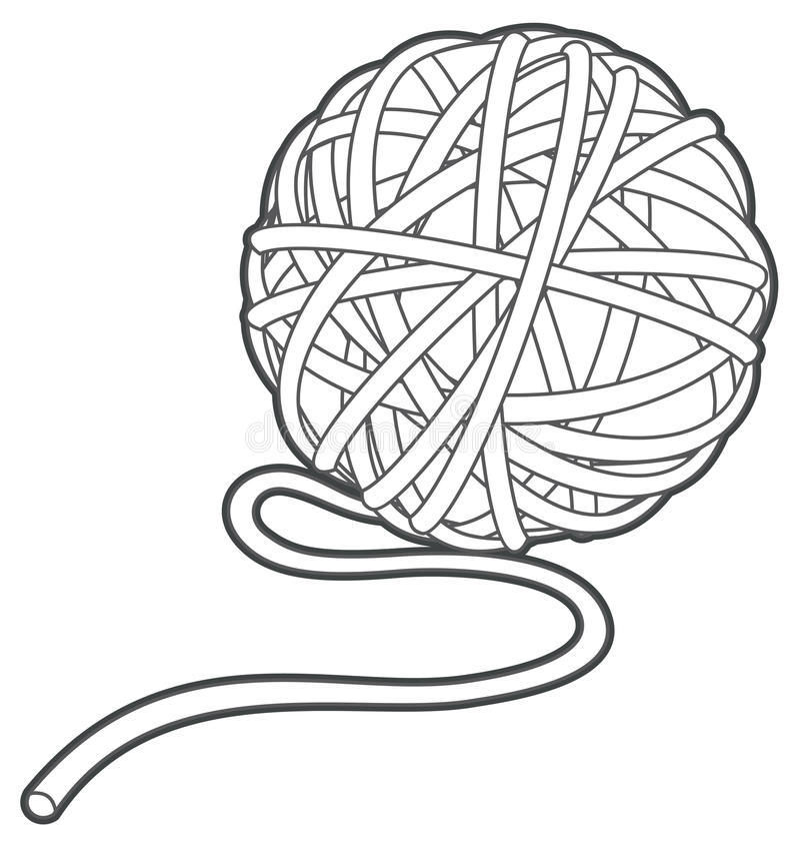 Ball of yarn vector outline stock illustration