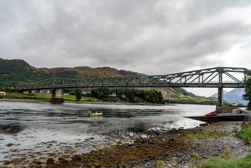 Ballachulish bridge in Lochaber, Scottish Highland. On a cloudy and rainy day stock photo