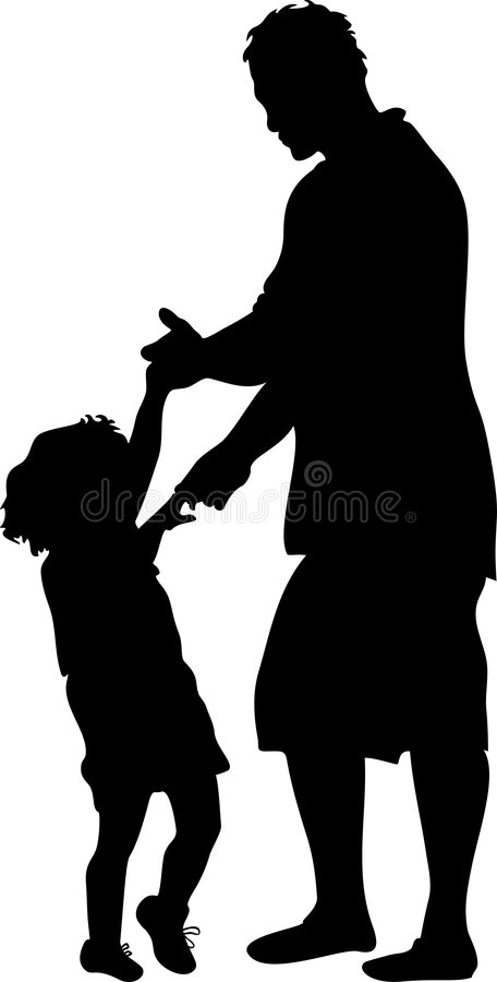 Ballando con la siluetta del papà royalty illustrazione gratis