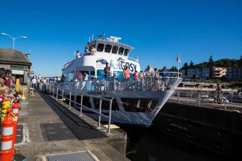 Ballard Lock Argosy Cruise Ship royalty-vrije stock afbeelding