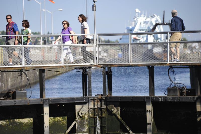Ballard Locks, Seattle, EUA foto de stock