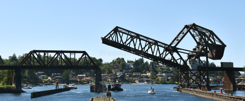 Ballard Ship Locks, Seattle, WA imágenes de archivo libres de regalías