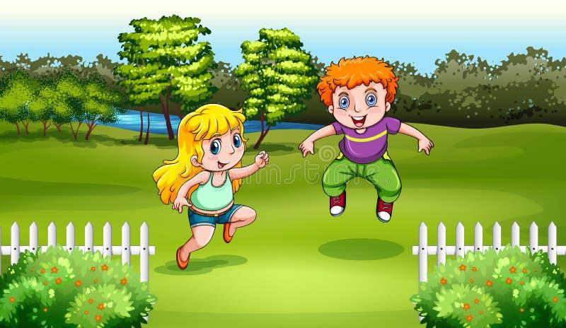 Ballare caucasico di due bambini royalty illustrazione gratis