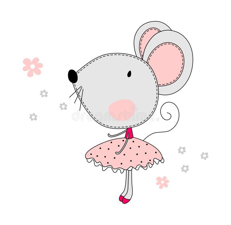 Ballare del topo della ragazza guarda molto sveglio royalty illustrazione gratis