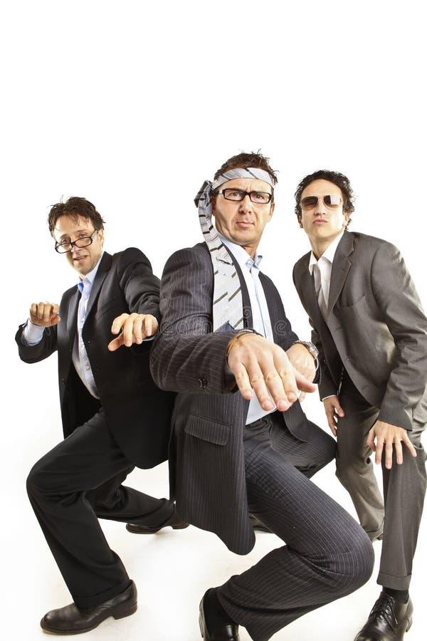 Ballare pazzesco degli uomini d'affari immagine stock libera da diritti