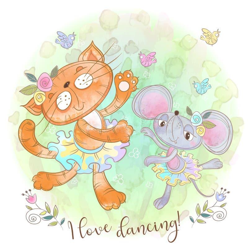 Ballare sveglio del topo e del gatto Amici divertenti Amore per sempre Il vettore dell'iscrizione watercolor fotografia stock libera da diritti