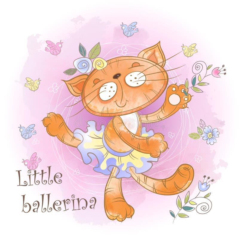 Ballare sveglio della ballerina del gattino Piccola ballerina iscrizione watercolor Vettore fotografia stock