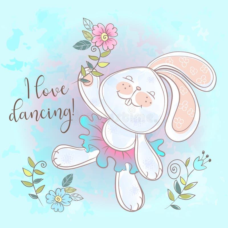 Ballare sveglio divertente del coniglietto Amo ballare Il vettore dell'iscrizione illustrazione di stock