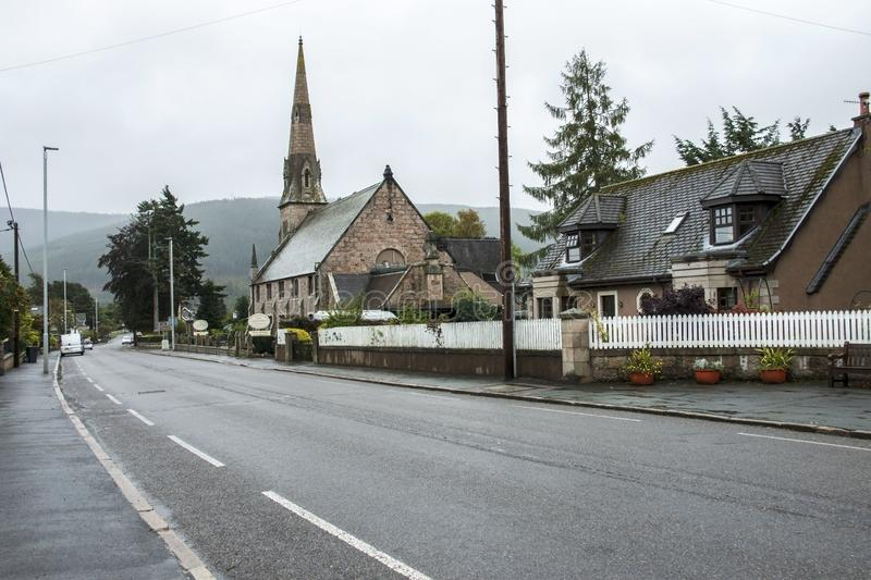 Ballater in Royal Deeside. Aberdeenshire, Scotland, UK. Ballater is a burgh in Aberdeenshire, Scotland on the River Dee, immediately east of the Cairngorm stock images