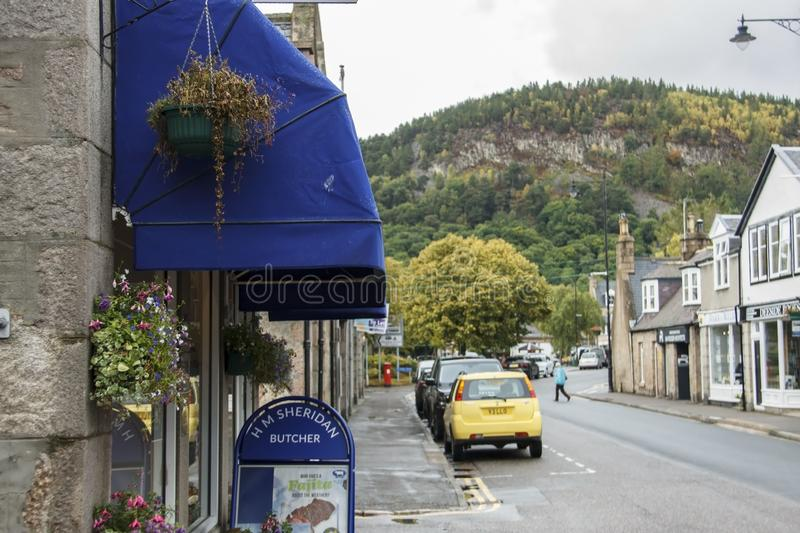 Ballater in Royal Deeside. Aberdeenshire, Scotland, UK. Ballater is a burgh in Aberdeenshire, Scotland on the River Dee, immediately east of the Cairngorm stock photo