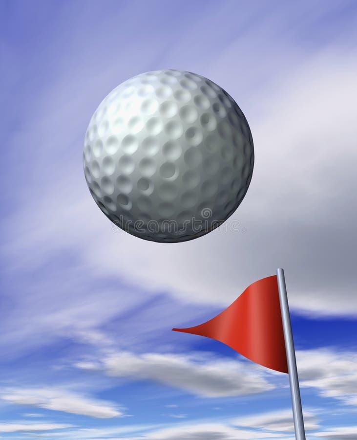 Balle de golf de vol illustration stock