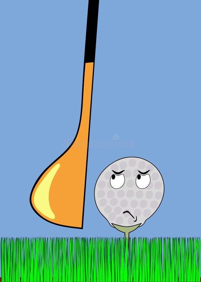 Balle de golf fâchée attendant la rappe illustration libre de droits