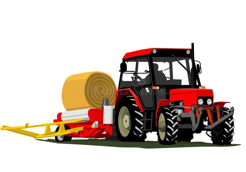Balle de paille de tracteur illustration libre de droits