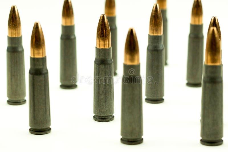 Balle 7 de point de cavité de cartouche de fusil d'Ak-47 abrégé sur serré culture de vue de côté de 62x39mm photos stock