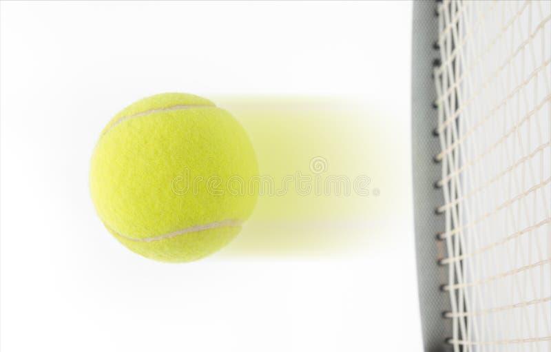 Balle de tennis frappée par le raquet sur le fond blanc image libre de droits