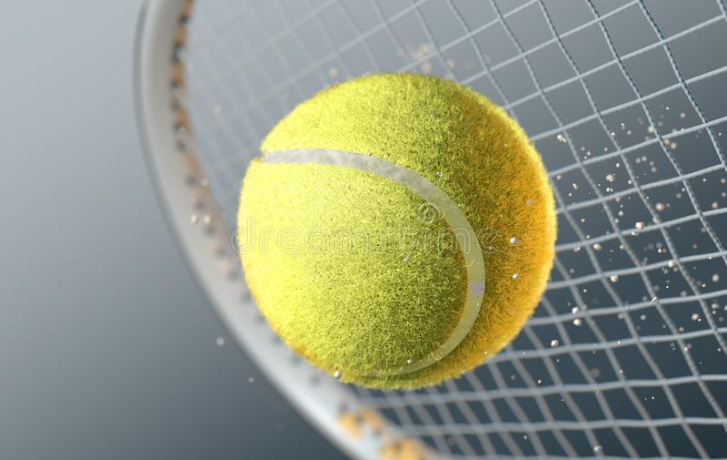 Balle de tennis heurtant Racqet dans le mouvement lent illustration de vecteur