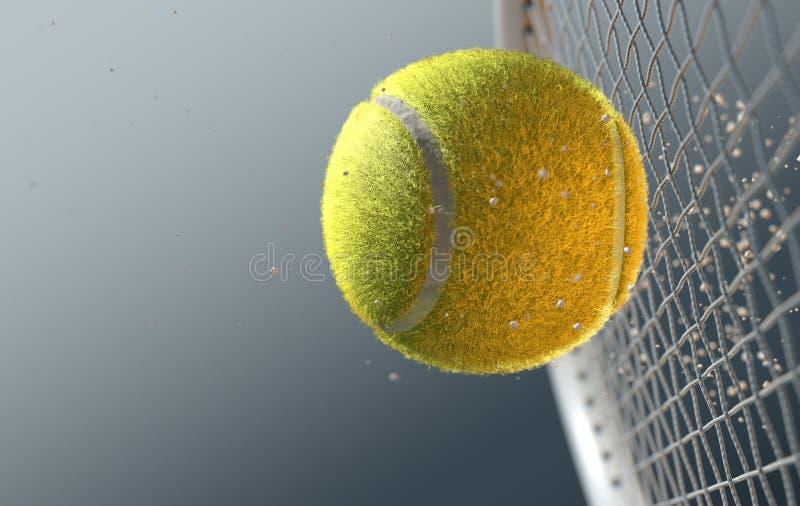 Balle de tennis heurtant Racqet dans le mouvement lent illustration stock