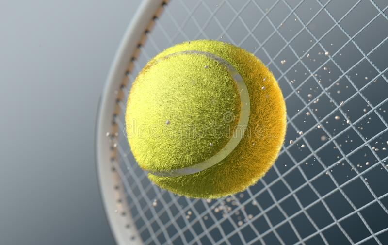 Balle de tennis heurtant Racqet dans le mouvement lent illustration libre de droits