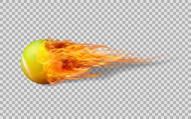 Balle de tennis réaliste de vecteur en feu sur le fond transparent illustration stock