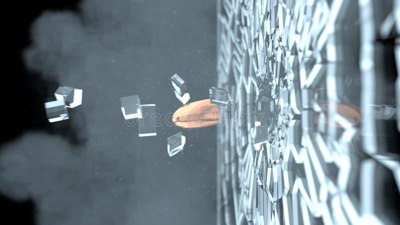 Balle tirée dans le vitrail Verre brisé et cassé après destruction par la balle mise le feu Fumée et petites particules en verre images stock